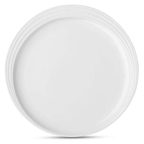 DOWAN 95 Inches Porcelain Dinner Plates Dessert Serving Platters Set of 6 - White