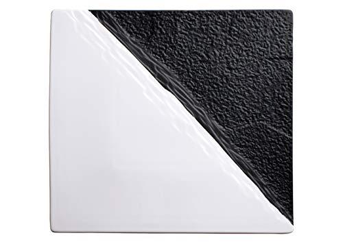 Winco WDP023-204 11 Porcelain Serving Platter Black&White Ceramic Tray 2CS
