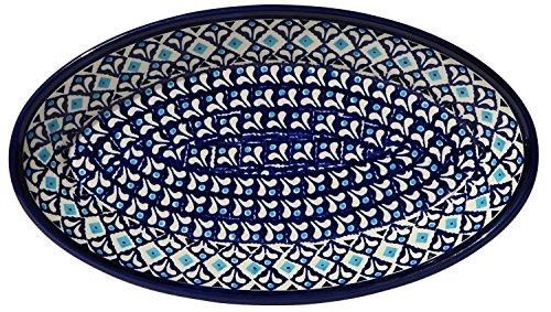 Polish Pottery Oval Serving Platter From Zaklady Ceramiczne Boleslawiec 1103-217a Classic Pattern Dimensions 11 Inch X 625 Inch