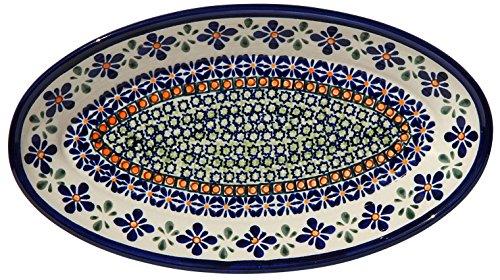 Polish Pottery Oval Serving Platter From Zaklady Ceramiczne Boleslawiec 1103-du60 Unikat Pattern Dimensions 11 Inch X 625 Inch