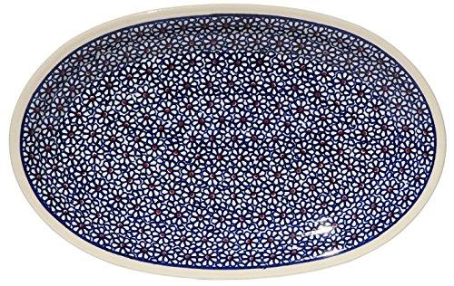 Polish Pottery Oval Serving Platter From Zaklady Ceramiczne Boleslawiec 1264-120 Pattern Dimensions 12 Inch X 775 Inch