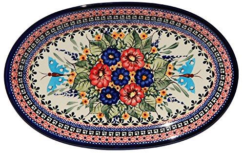 Polish Pottery Oval Serving Platter From Zaklady Ceramiczne Boleslawiec 1264-149ar Unikat Signature Pattern Dimensions 12 Inch X 775 Inch