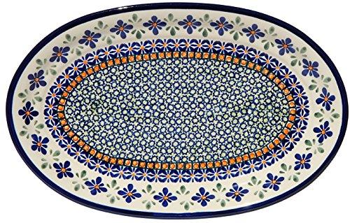 Polish Pottery Oval Serving Platter From Zaklady Ceramiczne Boleslawiec 1264-du60 Unikat Pattern Dimensions 12 Inch X 775 Inch