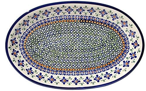 Polish Pottery Oval Serving Platter From Zaklady Ceramiczne Boleslawiec 1265-du60 Unikat Signature Pattern Dimensions 14 Inch X 9 Inch