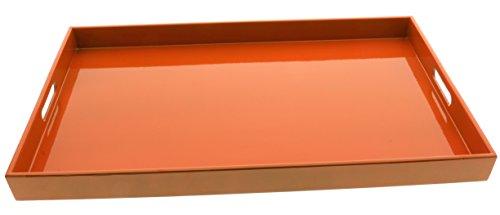 Kotobuki Rectangular Gloss Orange Lacquer Serving Tray 18-34 Orange