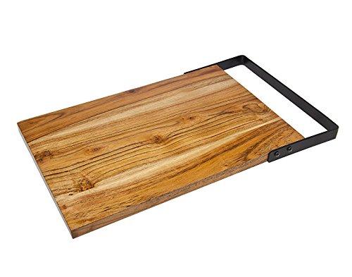 Godinger Rectangular Wooden Tray Large Platter with Steel Handle