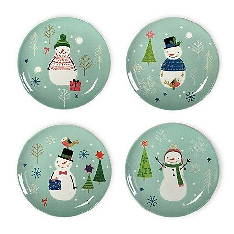 Boston International Sweaterific Snowman Plates Set of 4