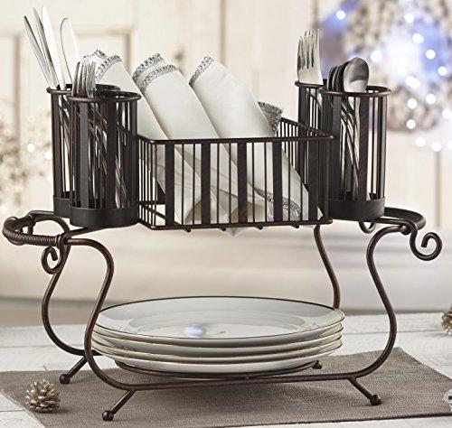 MESA Delaware Buffet Silverware Caddy Dinner Plate Holder Antiqued Black Finish
