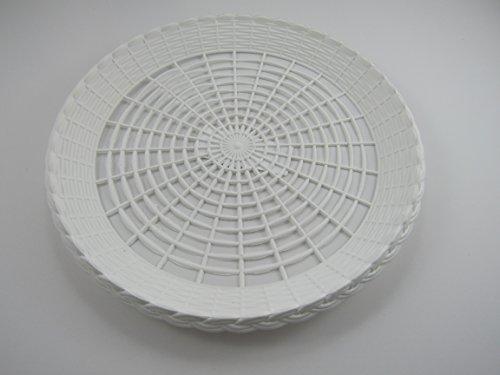 Paper Plate Holder White Plastic Wicker for 9 Plates Pack of 12 Reusable