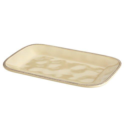 Rachael Ray Cucina Dinnerware 8-Inch x 12-Inch Stoneware Rectangular Platter Almond Cream