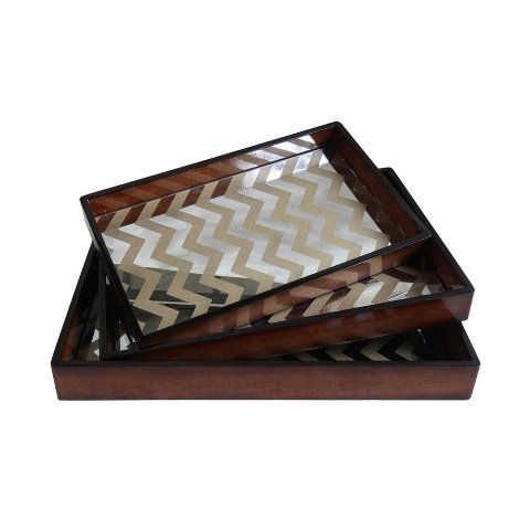 3-Pc Wooden Tray Set in Brown