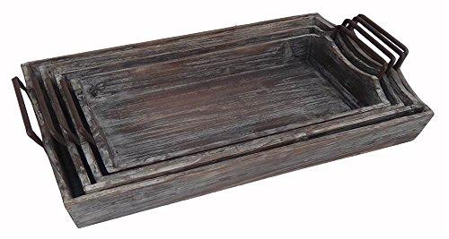 4-Pc Wooden Tray Set