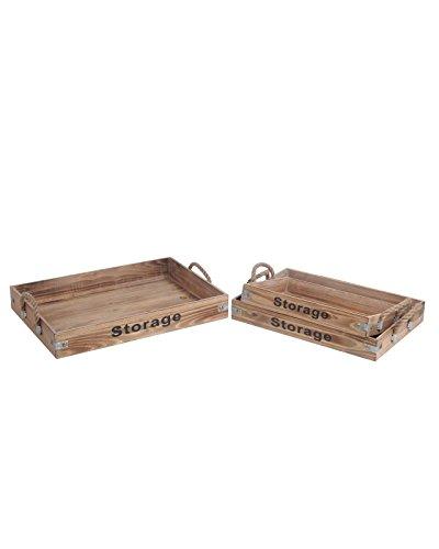 Gracie Oaks Yatesville 3 Piece Rectangle Wooden Tray Set