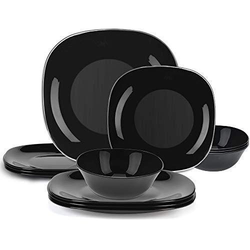 12-Piece Dinnerware Set Black Kitchen Dinner Set Service for 4 Square Glass Plates Bowls Set Crack Resistant