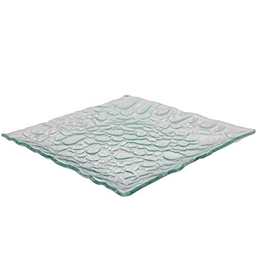 Oasis EN14369 Pebble Rock Design Tempered Tray Square Glass Platter Break and Chip Resistant - Decorative Charger Plate 115 Clear