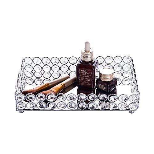 Feyarl Crystal Cosmetic Tray Rectangle Vanity Tray Jewelry Trinket Organizer Tray Mirrored Decorative Tray Christmas Silver