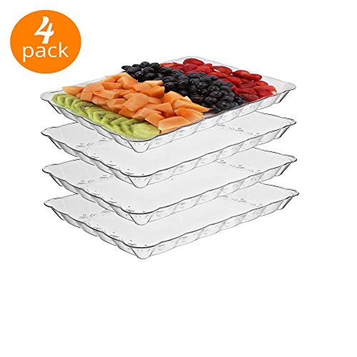 silver collection Rectangular Plastic Trays disposable serving Party Platters 9 X 13 -pack of 4- Clear
