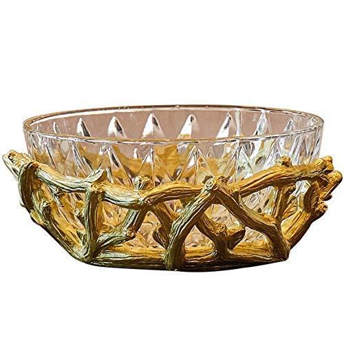 RYYAIYL Fruit Tray,European Style Glass Fruit Plate Modern Living Room Dry Fruit Plate Creative Home Dim Sum Plate Cake Tray