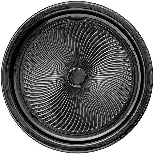 Nova Swirl Flat Black Plastic Party Tray - 18Dia