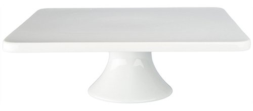 BIA Cordon Bleu 11-Inch by 3-34-Inch Porcelain Square Cake Stand White