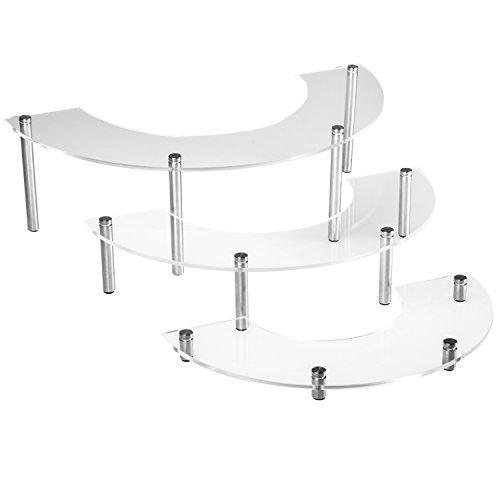 3 Tier Clear Acrylic Silver-tone Metal Countertop Cupcake Display Stand  Modern Organizer Rack