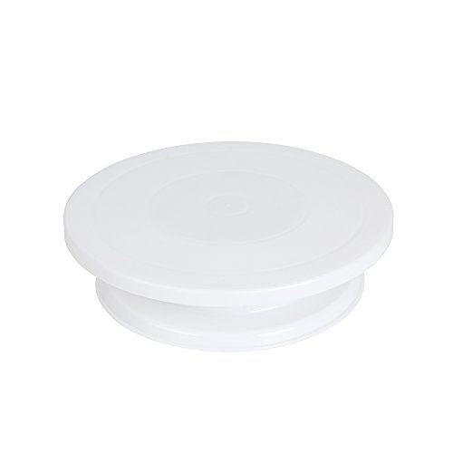 11 Inch Revolving Cake Decorating Stand Cake Turntable DIY Decoration Rotating Table - White
