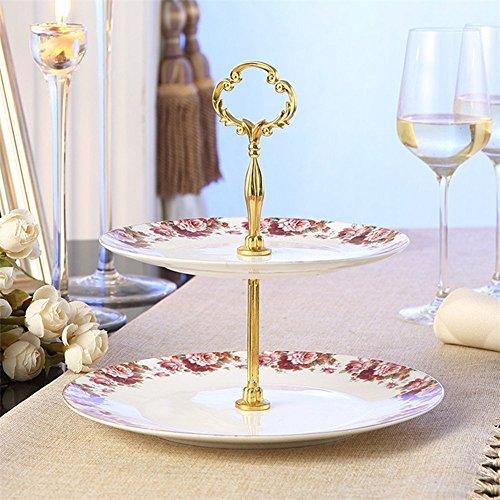 2 Tier Porcelain Bone China Square Cake Plate StandWhite RedHeight103Edge Length8&10