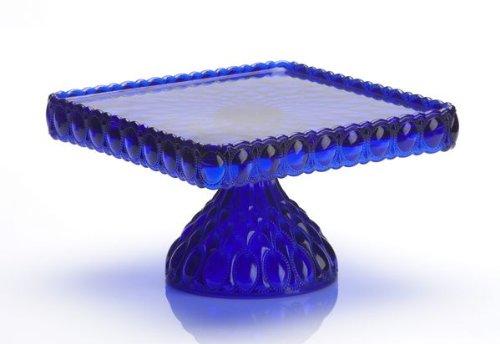 Mosser Glass Elizabeth Square Cake Plate Stand in Cobalt Blue