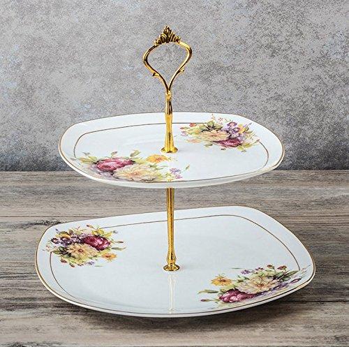 NDHT 2 Tier Porcelain Bone China Square Cake Plate StandWhite GoldenHeight103〃Edge Length8〃&10〃