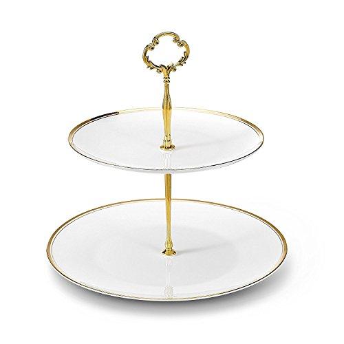 NDHT 2 Tier Porcelain Bone China Square Cake Plate StandWhite GreenHeight10''¨Edge Length8''&10''Golden Edge