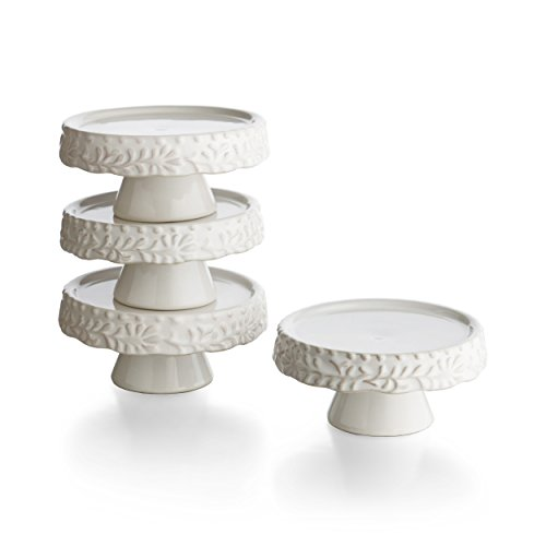 American Atelier Binca Leaf Pedestal Cupcake Plates Set of 4 White