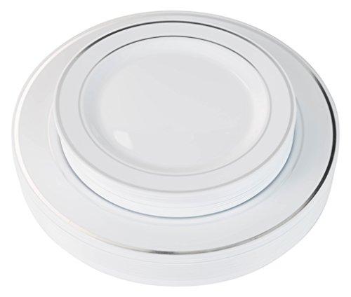 40 Silver Line Plastic Plates 20-dinner 20-dessert Set Premium Heavyweight Plastic Wedding Like China…