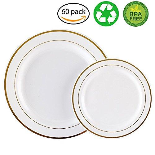 60PCS Heavyweight White with Gold Rim Wedding Party Plastic PlatesDinnerware Sets30-1025inch Dinner Plates and 30-75inch Salad Plates -WDF WhiteGold Rim