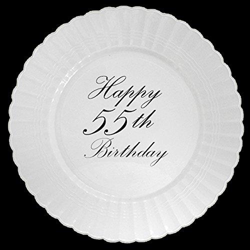 55TH CLASSY BLACK PLASTIC DINNER PLATE
