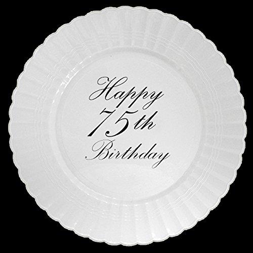 75TH CLASSY BLACK PLASTIC DINNER PLATE