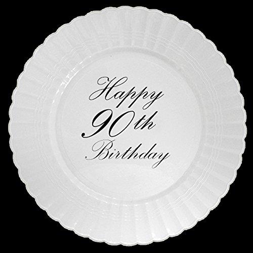 90TH CLASSY BLACK PLASTIC DINNER PLATE