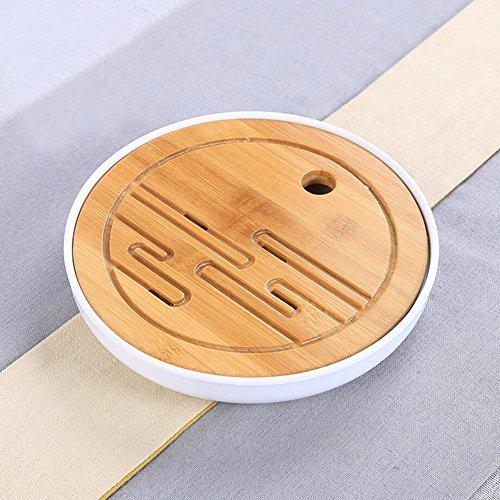 Hoobar Bamboo Kungfu Tea Tray Table Serving Tray Chinese Style Water Storage Gongfu tea tray White 1