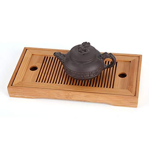 Sugoyi Tea Plate Chinese Tea Table Bamboo Tea Tray Chinese Gongfu Tea Mini Serving Table for Teahouse Home Office