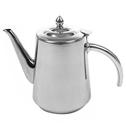 Stainless Steel 2 Liter Tea Kettle  Hinged Top Lid Hot Beverage Serving Pot - MyGift