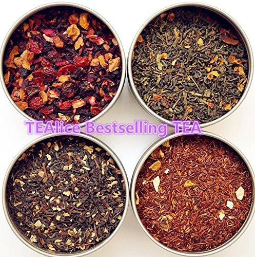 TEAlice Loose Leaf Tea Sampler Gift Set 4 Bestselling Cans Approximately 20 Servings of Tea Per Can