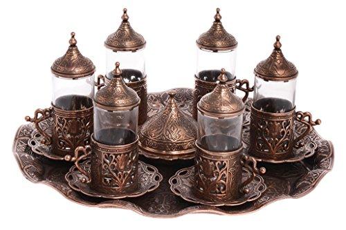 Turkish Greek Arabic Guest Serving TEA Set Serve 6 Person Style2