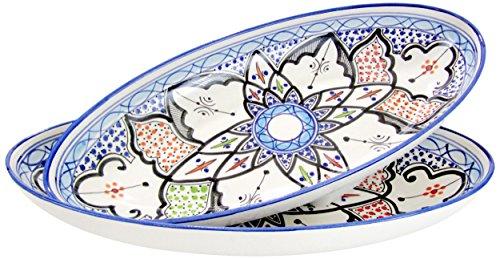 Le Souk Ceramique TIB13 Stoneware Large Oval Platters Set of 2 Tibarine