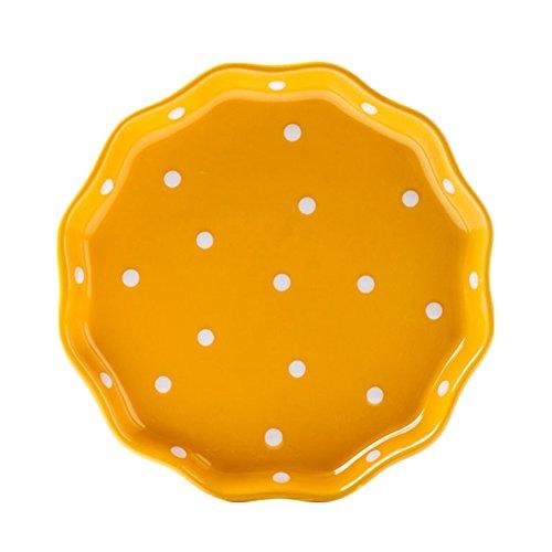 CHOOLD Ceramic Wave edged Polka Dot Dinner PlateSalad PlateDessert PlateSteak Plate for Kitchen Party Restaurant Multicolor 8