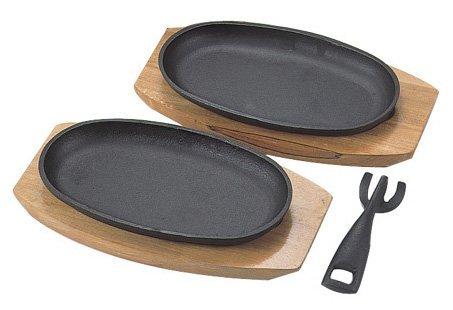 Happy Sales HSSP-CTSP22  Cast Iron Steak Plate Set of 2 6W x 4H x 12L Black
