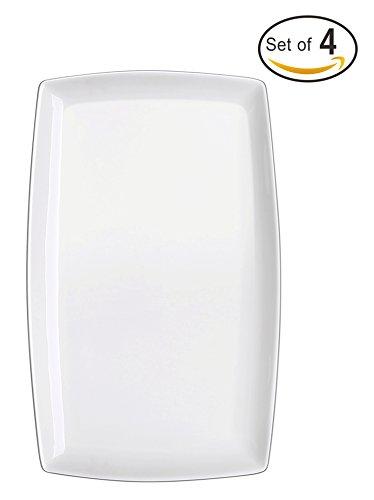 DOWAN 10-inch Porcelain Serving PlatterRectangular Plates Set of 4 White