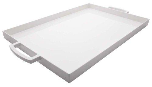Zak Designs MeeMe Rectangular Serving Tray 195 by 115 Break-resistant and BPA-free Plastic White