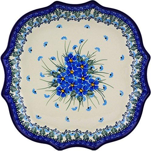 Polish Pottery Platter 10-inch made by Ceramika Artystyczna Forget Me Not Theme