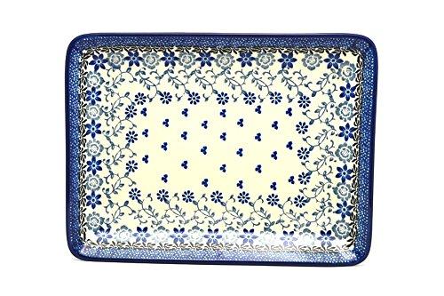 Polish Pottery Platter - Rectangular - Silver Lace
