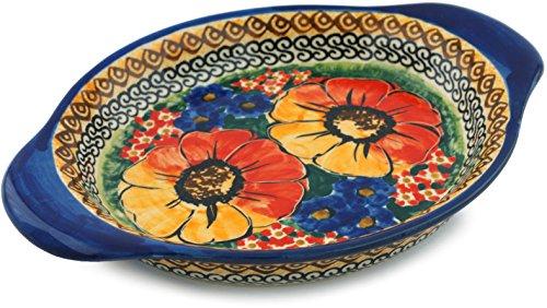Polish Pottery Platter with Handles 9-inch Bright Beauty UNIKAT