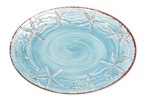 Galleyware Blue Raised Starfish Melamine Oval Platter